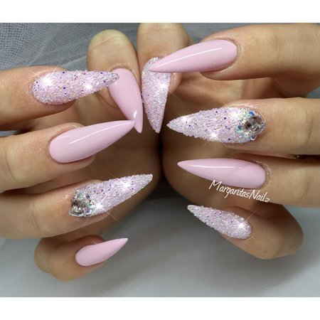 Baby Pink Diamond Nails