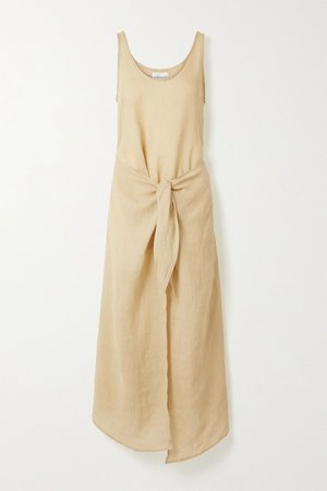 Neutral Ramie wrap dress | Anemone | NET-A-PORTER