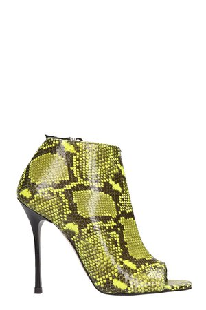 Marc Ellis Yellow Snake Print Ankle Boots