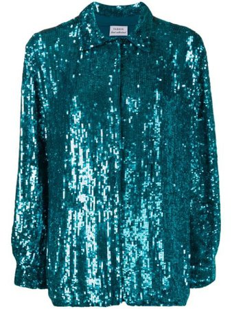 Shop blue P.A.R.O.S.H. Gummy sequin shirtwith Express Delivery - Farfetch