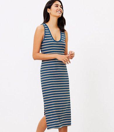 Beach Striped Ribbed Midi Dress