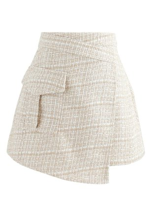 Tweed Asymmetric Mini Skirt in Light Yellow - Retro, Indie and Unique Fashion