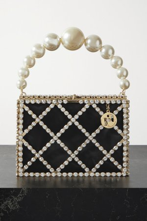 Embellished Gold-tone And Satin Tote - Black