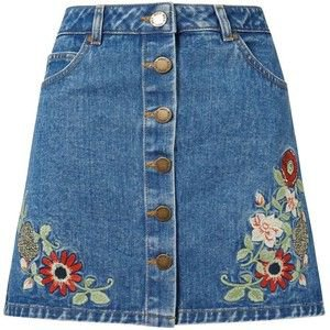 Flower Embroidered Jean Skirt