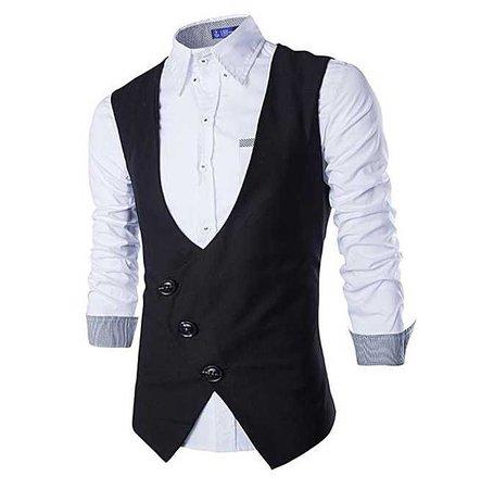 Steampunk Goth Asymmetric Slim Fit Vest Waistcoat Men 148953