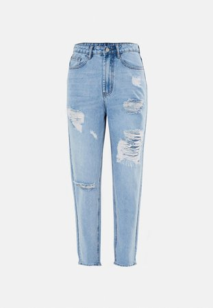 Blue Riot Highwaisted Distressed Thigh Mom Jeans | Missguided