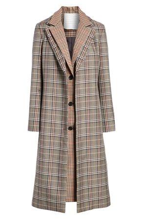 MONSE Layered Plaid Wool Blend Coat | Nordstrom