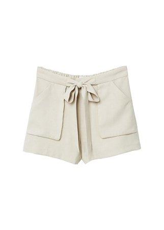 MANGO Bow flowy shorts