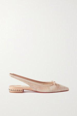Hall 20 Spiked Perforated Suede Slingback Point-toe Flats - Beige