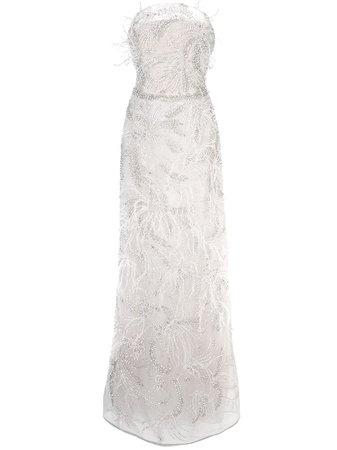 Marchesa Embellished Column Gown - Farfetch