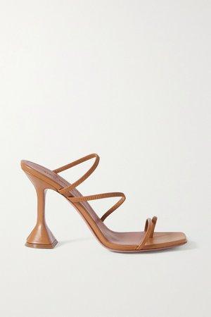 Tan Naima leather sandals | Amina Muaddi | NET-A-PORTER