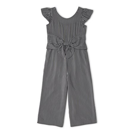 Wonder Nation - Wonder Nation Girls 4-18 & Plus Ruffle Sleeve Tie Front Jumpsuit - Walmart.com