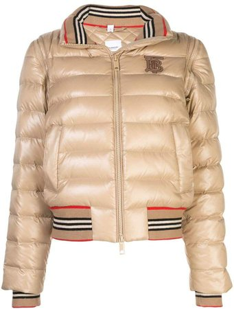 detachable sleeve Icon stripe puffer jacket