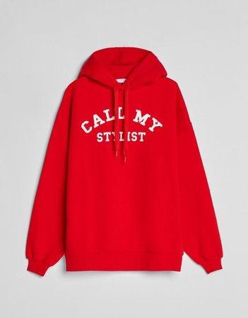 College print hoodie - Sweatshirts and Hoodies - Woman | Bershka