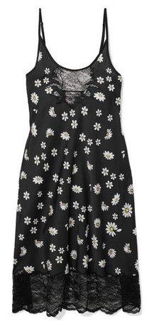Lace-trimmed Floral-print Satin Midi Dress - Black