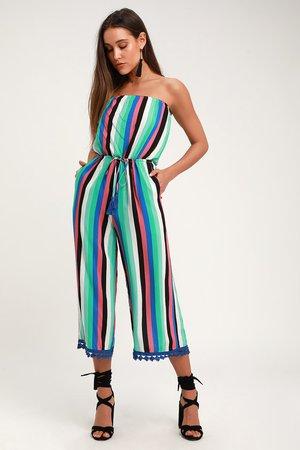 Fun Green Multi Striped Jumpsuit - Culotte Jumpsuit - Cover-Up