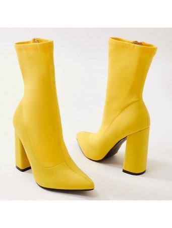 Boss Sock Fit Ankle Boots in Yellow | Public Desire | Public Desire US