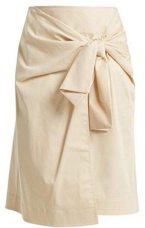 Tie Front Wrap Skirt - Womens - Beige