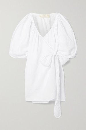 Coletta Linen Mini Wrap Dress - White