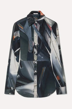 Peter Do - Satin-trimmed Printed Stretch-cady Shirt - Gray