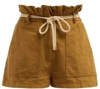 Paperbag Waist Belted Cotton Shorts - Womens - Camel