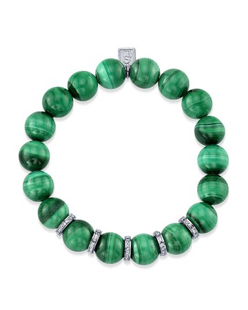 Sheryl Lowe 10mm Malachite & Diamond Bead Bracelet