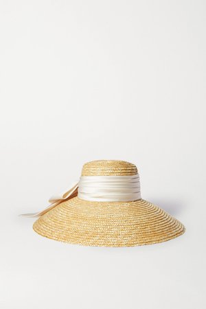 Neutral Mirabel satin-trimmed straw hat | Eugenia Kim | NET-A-PORTER