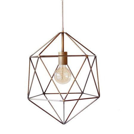 Bronze Geometric Pendant Light Handmade Hanging Light Cage | Etsy