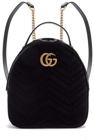 Gg Marmont Velvet Backpack - Womens - Black