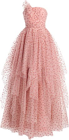 Jenny Packham Polka-Dot Ruffled Tulle Dress