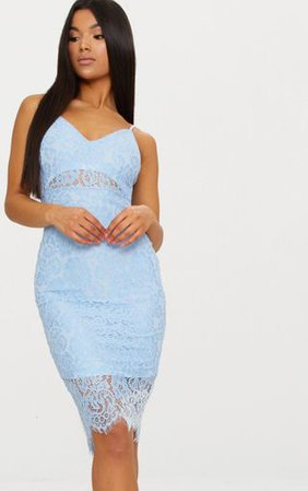Pale Blue Lace Plunge Midi Dress | Dresses | PrettyLittleThing