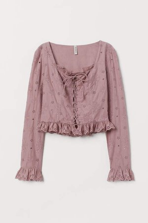 Blouse with Eyelet Embroidery - Pink