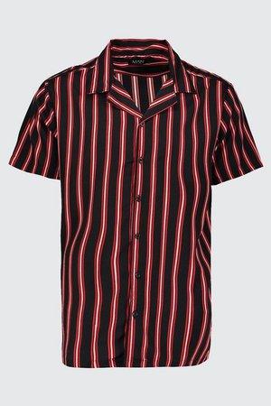 Vertical Stripe Oversized Revere Shirt | Boohoo