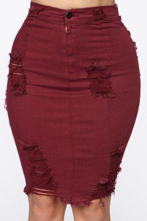 Major Moves Denim Skirt - Wine