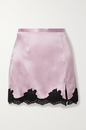 Fleur du Mal | James lace-trimmed silk-satin mini skirt | NET-A-PORTER.COM