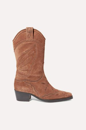 High Texas Embroidered Suede Boots - Brown