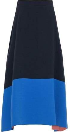 Flared Two-tone Crepe Midi Skirt