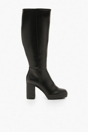 Chunky Cleated Over The Knee Boots | Boohoo black