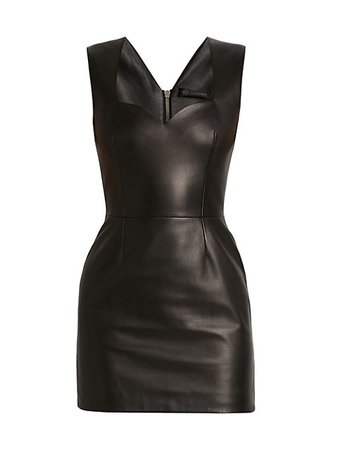 Versace Sweetheart Leather Mini Dress   SaksFifthAvenue