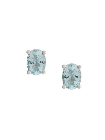 Delfina Delettrez 18Kt White Gold Dots Solitaire Aquamarine Stud Earrings DSAQUAMARINEPAIR Blue | Farfetch