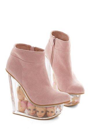 Platform Baby Pink Barbie Head Heels