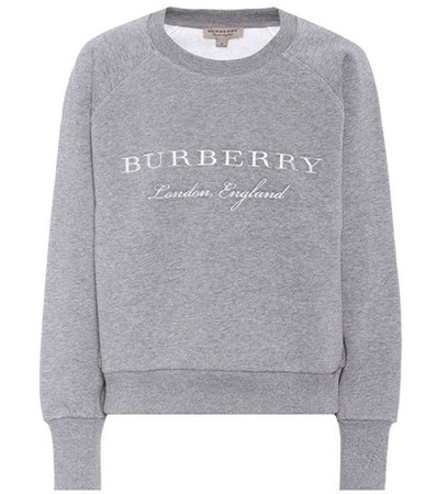 Embroidered cotton-blend sweatshirt