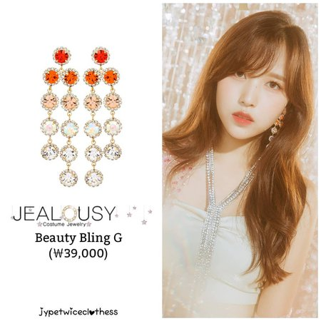 "Twice's Fashion on Instagram: ""MINA FEEL SPECIAL TEASER JEALOUSY- Beauty Bling G (₩39,000) #twicefashion #twicestyle #twice #nayeon #jeongyeon #jihyo #momo #mina #sana…"""