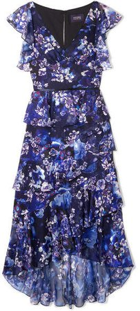 Tiered Floral-print Fil Coupé Chiffon Midi Dress - Navy