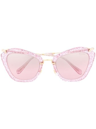 Miu Miu Eyewear Glitter cat-eye Frame Sunglasses - Farfetch