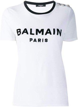 buttoned logo T-shirt