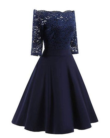 Women's Vintage Dresses Lace Floral Boat Neck 3/4 Long Sleeve Swing Dress A-Line Cocktail Party Prom at Amazon Women's Clothing store: