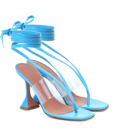 Zula Pvc-Trimmed Leather Sandals - Amina Muaddi | Mytheresa