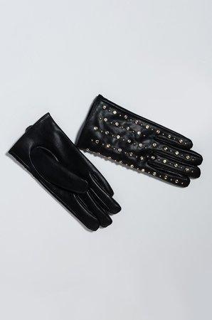 AKIRA Label Studded Rhinestone Pleather Winter Gloves in Black