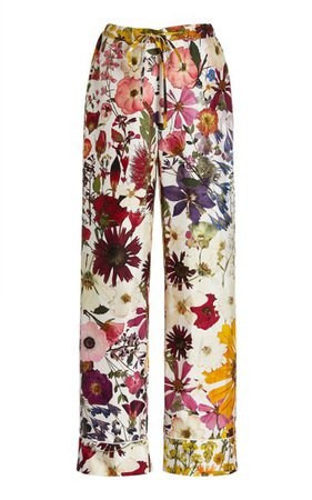 Floral-Printed Silk Twill Pajama Pants By Oscar De La Renta | Moda Operandi